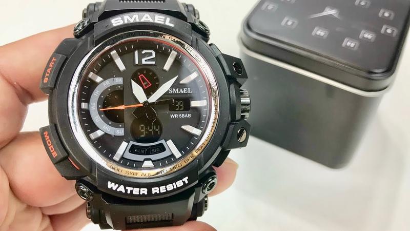 SMAEL Rugged Black Analog Military Time Backlight Quartz Wrist Watch