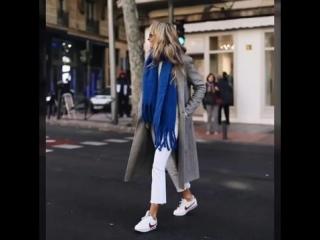 Мегапопулярно в межсезонье 2018: стильное сочетание пальто+кроссовки, 20 модных идей .