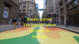 Bandera Street turned into a colorful urban art in Santiago, Chile