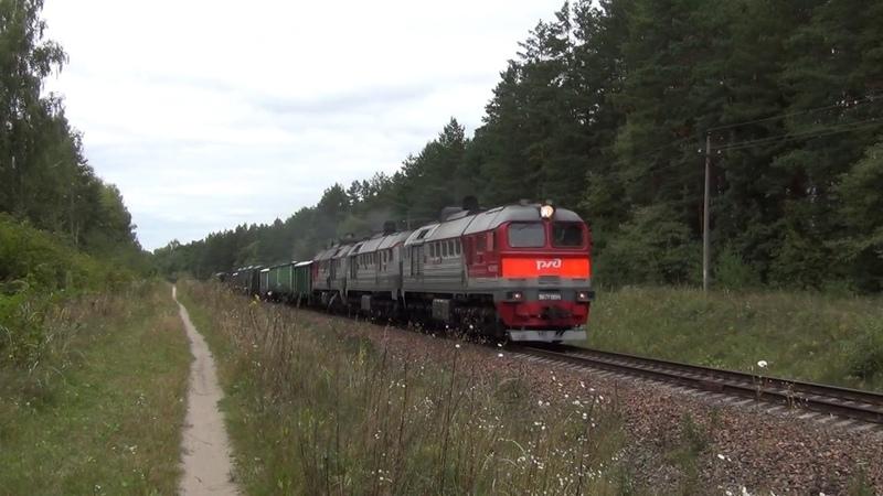 Тепловоз 3М62У-0099 с грузовым поездом