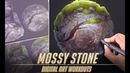 Mossy Stone Material Study - Digital Art Workouts 3 (Photoshop)