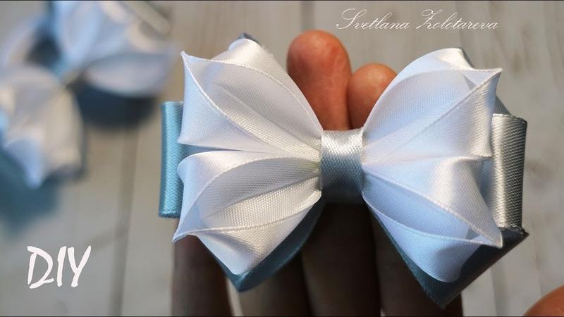 Простые ШКОЛЬНЫЕ БАНТИКИ из лент Канзаши МК DIY Simple SCHOOL ribbon BOWS