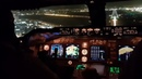 Beautiful BOEING 747 COCKPIT view of landing in tel Aviv Israel . taxi to ramp