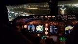 Beautiful BOEING 747 COCKPIT view of landing in tel Aviv Israel . taxi to ramp