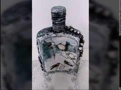 Новогодний декупаж бутылки. Техника Терра. Diy.