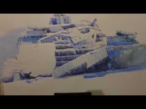Titanic wreck. Aquarelle. Painting Wreck Titanic Рисуем останки Титаника