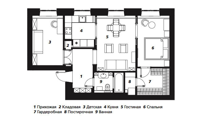 Квартира с анфиладой по проекту Марины Брагинской, 66 м²