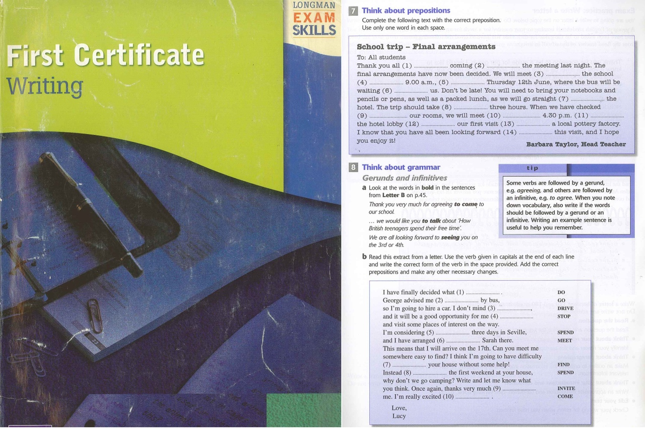 FIRST CERTIFICATE WRITING