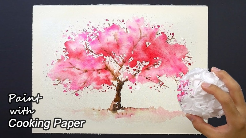 How to Paint a Cherry Tree with Cooking Paper | Easy Painting Technique - Sakura