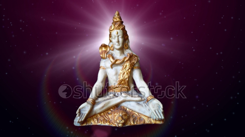 30 Seconds Seamless Loop Lord Shiva Statue Reveal Animation With Red Starry Sky Background