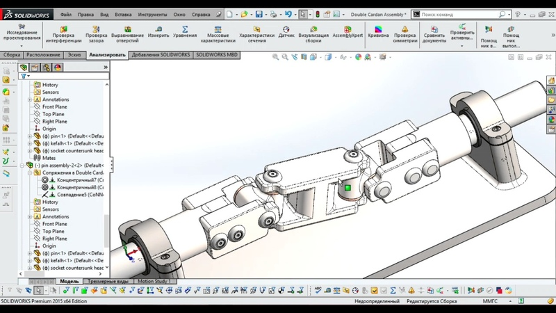 Solidworks Кардан Делаем сборку
