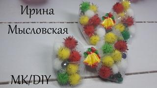 Новогодние бантики за 5 минут канзаши мк / Christmas bows DIY / Arcos de navidad