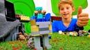 Видео игры с Майнкрафт Лего. Защитный костюм для Стива!