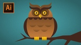 Owl character with noise grain texture Illustrator CC tutorial (STEP BY STEP)