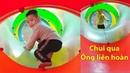 Gia Linh và em Cò chơi Cầu trượt Nhà bóng Em Cò mạnh dạn chui qua ống liên hoàn