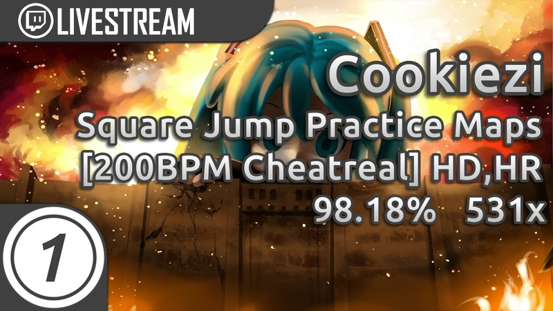 Cookiezi | Square Jump Practice Maps [200BPM tpazolite_cheatreal [AR10] HD,HR 98.18 4xMiss