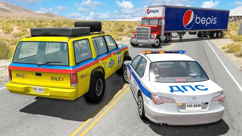 Опасное вождение Скоростная авария на трассе Фура снесла тачки Дорожные происшествия в игре