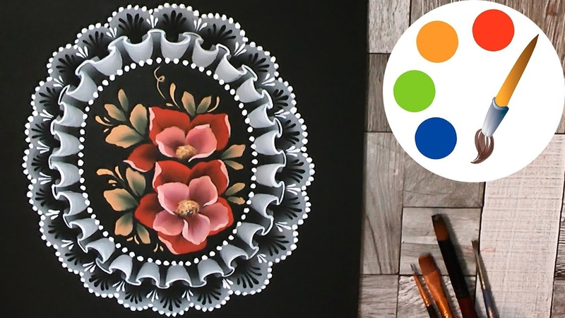 How to paint Lace with flowers by a flat brush decoration idea