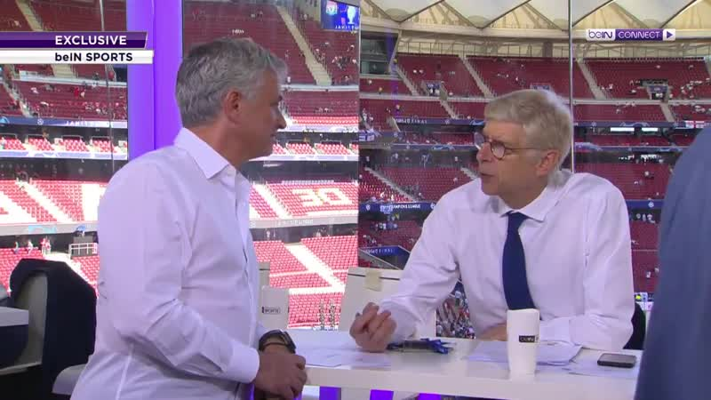 Arsene Wenger Jose Mourinho having a chat in the Studio if BeIN