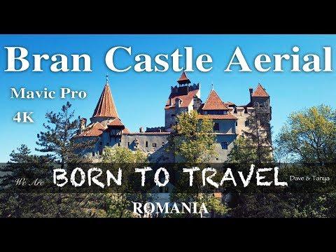 Bran Castle Aerial Transilvania Romania Dracula 4K Drone Footage Mavic Pro Platinum
