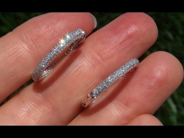 ESTATE Genuine VS1-VS2 Clarity 1.10 Carat Diamond Cocktail Earrings Solid 14K Gold