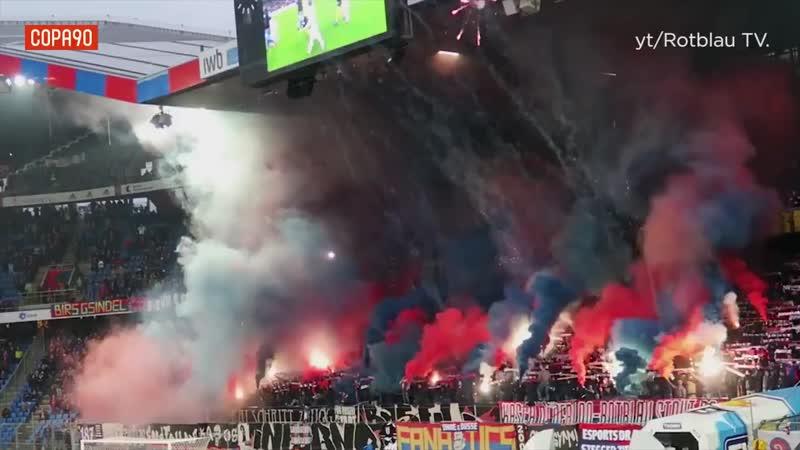 🇨🇭 Фанаты «Базеля» пустили в воздух искры и красочный залп, «Янг Бойз» ответил желтым маревом