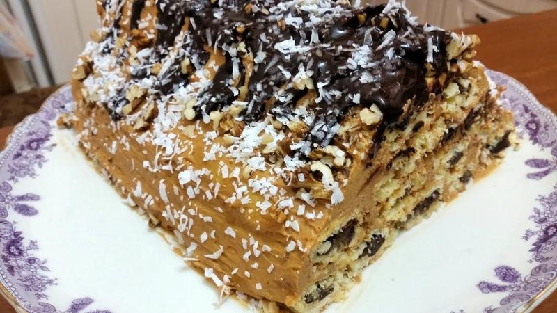 Торт Монастырская изба со сливочно сгущенным кремом финиками орехами грецкими Новый вкус новогодний торт Ани кухня