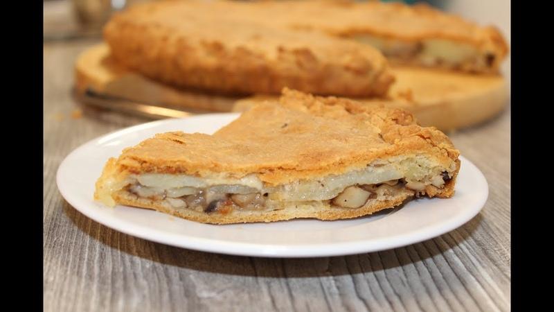 Пирог с грибами и картошкой из песочного теста