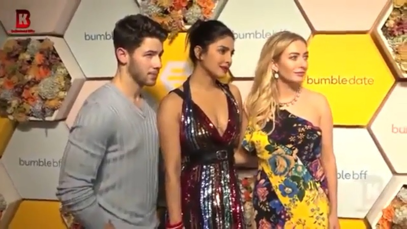 Nick Jonas With His Sister and Priyanka Chopra Arrives At Red Carpet of Bumble Launch Party