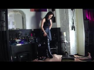 Mistress blackdiamoond trampling torment for the slave femdom