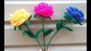 Простая роза крючком со стебельком Часть 4./ A simple crocheted rose with a stem Part 4.