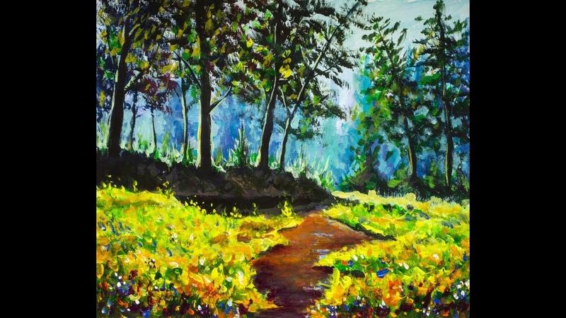 Time Lapse Как рисовать солнечный пейзаж Река в лесу акрилом художник Рыбаков