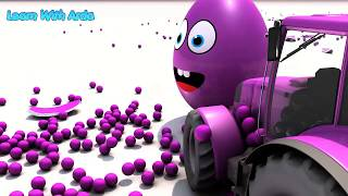 Tractor and Giant Eggs Surprice Colors Ball Nursery Rhymes for Kids