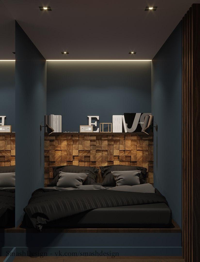 Мужской дизайн в однокомнатной квартире