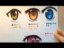 Рисуем глаза цветными карандашами манга