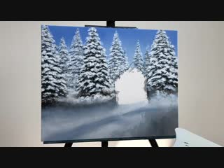 1 STEP by STEP Snowy Cabin Acrylic Painting (ColorByFeliks)
