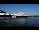 2018-07-23, паром DFDS Optima Seaways пришвартовывается в акватории порта, округ Клайпеды, Смильтине.