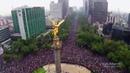 Mexico- Festejo en el Ángel visto desde el aire
