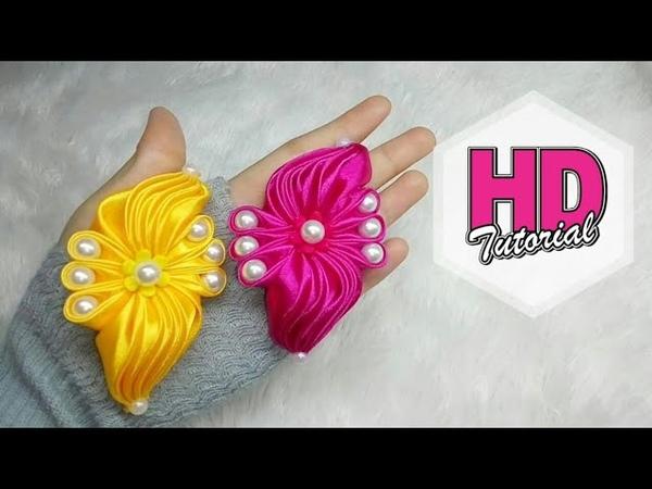 DIY - Transformasi ubur-ubur || Wings brooch || kanzashi || how to make satin ribbon flower