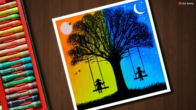 Day and Night scenery drawing for beginners with Oil Pastels - step by step