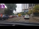 Подол Киева после урагана Застрявшие трамваи в грязи