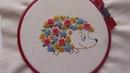 Цветочный ёжик бразильская вышивка вышивка контуром для начинающих
