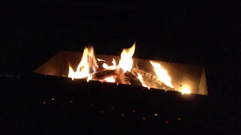 Огонь, угли и курица на мангале