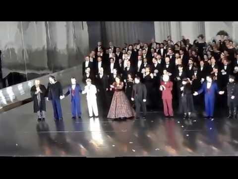 Curtain call in Un Ballo in Maschera. Opening night in Metropolitan Opera. 4.23.15