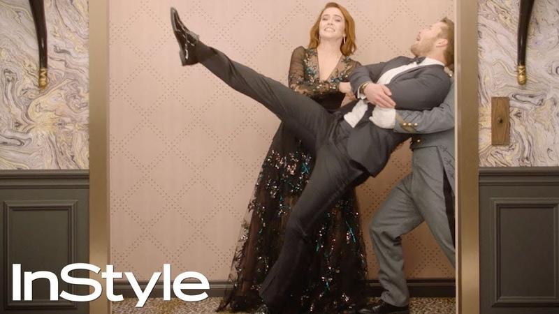 Zoey Deutch Glen Powell | 2019 Golden Globes Elevator | InStyle