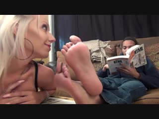 Blonde caught smelling feet