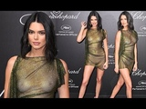 Kendall Jenner goes braless at Chopard party