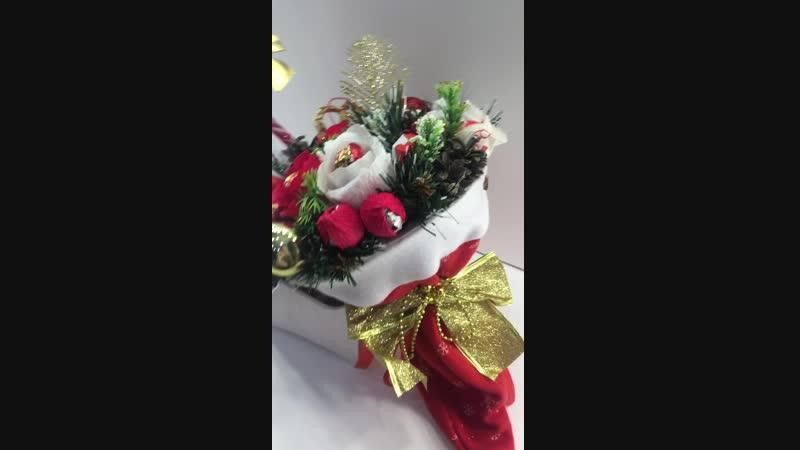 Новогодний букет в колпаке (красный) Alice`s Room Store