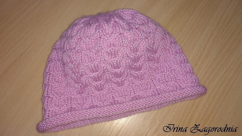 Женская шапка спицами-вяжем за 1час.Как связать стильную шапку