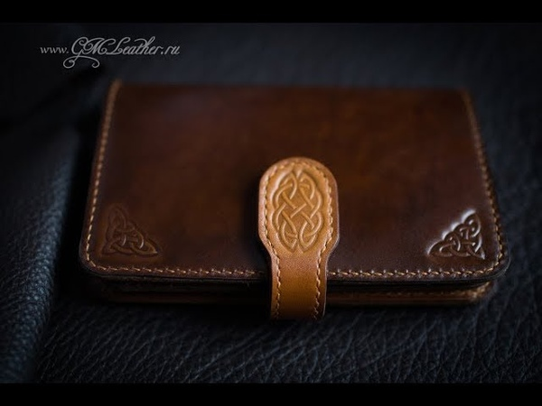 Кожаный кошелек (бумажник) ручной работы с тиснением, leather wallet, embossing on leather, handmade